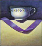 Wim Blom  Valencian cup and ribbon Egg tempera on gesso panel 25.3 x 23 cm