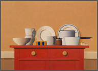Wim Blom-The red cabinet 2011 Oil on canvas 66 x 91 cm