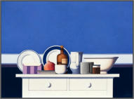 Wim Blom-White and blue still life 2012 Oil on canvas 71 x 96.5 cm