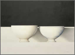 Wim Blom-Two bowls 2010 Charcoal and colour pencils on French paper  30.5 x 41.5 cm