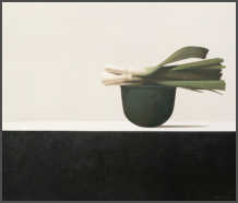 Wim Blom-Leeks on a copper vessel 2011 Oil on canvas 61 x 71 cm