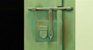Wim Blom-Bolted Door 2005 oil on canvas 30.5 x 56 cm-12 x 22 inches
