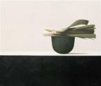 Wim Blom-Leeks on a copper vessel 2010 oil on canvas 61 x 71 cm-24 x 28 inches