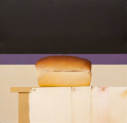 Wim Blom-Loaf of Bread 2010 oil on panel 46.5 x 46.5 cm- 18.5 x 18.5 inches