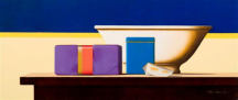Wim Blom-Parcel and Blue Tin 2007 oil on panel 26 x 61 cm- 10.25 x 24 inches