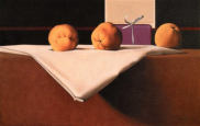 Wim Blom-Quinces on a starched cloth 2002 oil on canvas 38 x 61 cm
