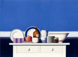 Wim Blom- White and blue still life. 2012 oil on canvas 71 x 96.5 cm- 28 x 38 inches